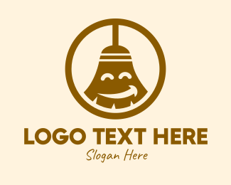 Home Cleaner - Happy Cleaning Broom  logo design