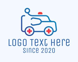 Suv - Blue Emergency Ambulance Van logo design