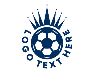 Athlete - Soccer Ball King Crown  logo design