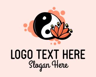 Massage Therapy - Yin Yang Lotus  logo design