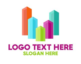 Glass - Colorful Glass Buildings logo design