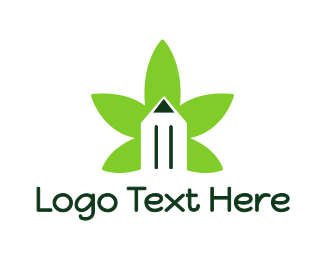 Writing - Cannabis Pencil logo design