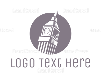 England - Grey Big Ben logo design