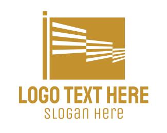 Gold - Generic Striped Gold Flag logo design