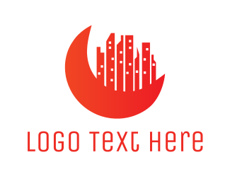 Red Building - Red Moon City logo design
