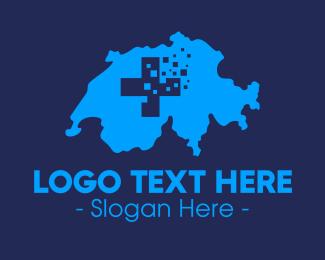 Blueprint - Swiss Digital Map logo design