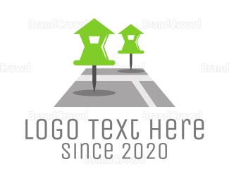 Satellite - House Pin logo design