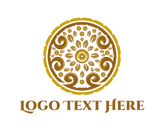 Libya - Gold Floral Circle logo design
