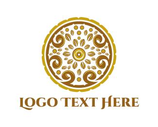 Bronze - Gold Floral Circle logo design