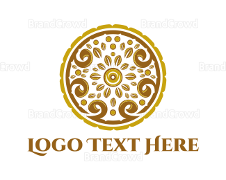 Whiskey - Gold Floral Circle logo design