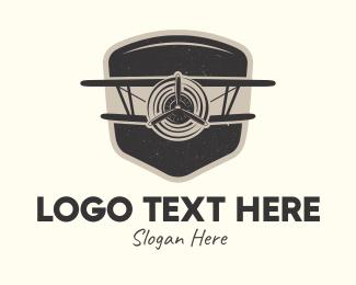 World War - Rustic Vintage Airplane logo design