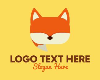 Speech - Orange Fox Chat logo design