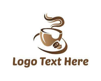 Coffee Bean - Brown Coffee Cup logo design