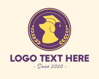 University - Dog Graduation Badge logo design