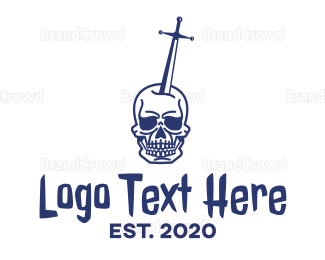 Hacker - Skull Excalibur logo design