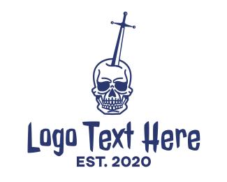 Knight - Skull Excalibur logo design