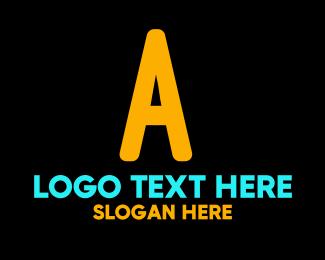 Lettermark A - Neon Orange Letter A logo design