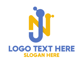 Microscopic - Molecule Letter NJ  logo design