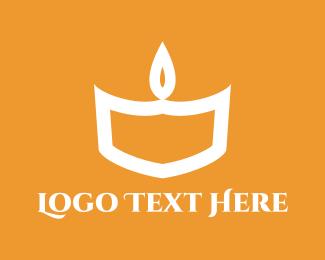 Orange And White - White Candle logo design