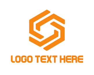 Link - Orange Hexagon logo design