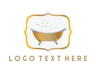 Hot Tub - Golden Tub logo design