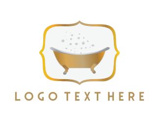 Bath - Golden Tub logo design