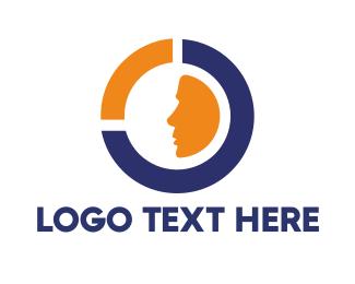 Discrimination - Blue Orange Circle Face logo design