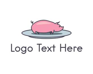 Bbq - Pork Plate  logo design