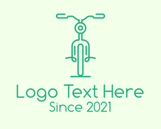 Bike Race - Green Bicycle Outline logo design