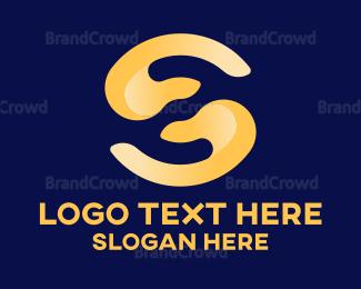 Fingers - Helping Hand Letter S logo design