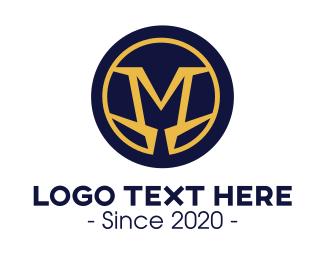 Gold Circle - Masculine Gold M Badge logo design