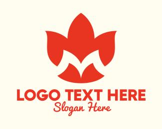 Events - Orange Flower Letter M logo design