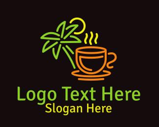 Hut - Neon Tropical Tea logo design