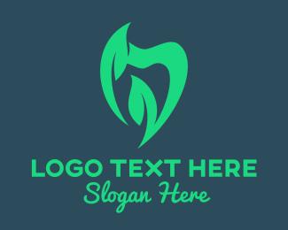 All Natural - Green Natural Dentist logo design