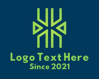 Web Designer - Green Letter X Tech  logo design