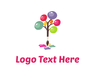 Paint Brush - Art Tree logo design