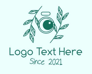 Camera Lens - Green Plant Camera Lens logo design