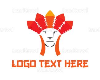 Chief - Tribal Feline logo design