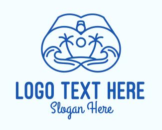 Surf Store - Blue Binocular Line Art logo design