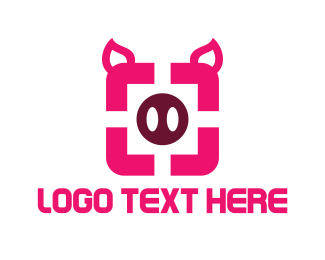Pink Box - Pig Portrait Square logo design