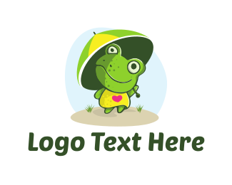 Characters - Frog Umbrella logo design