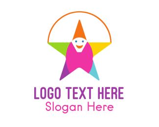 Funny - Clown Star Smile logo design