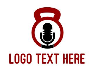 Podcast - Fitness Podcast Radio Microphone logo design