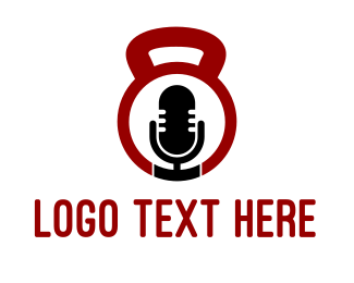 Gymnasium - Fitness Podcast Radio Microphone logo design