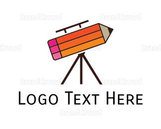 Telescope - Pencil Telescope logo design