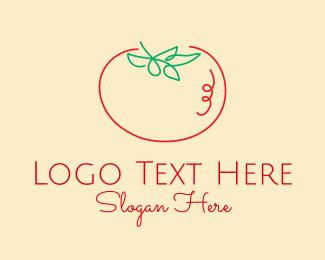 Tomato Sauce - Tomato Line Art logo design