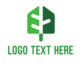 Shovel - Green Shade Shovel Leaf logo design