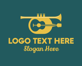 Trumpet Player - Classic Guitar & Trumpet logo design