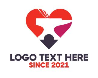 Anvil - Colorful Heart Anvil  logo design