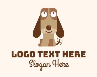 Terrier - Excited Beagle Dog  logo design